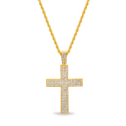 Imagen de Gold-Tone Crystal Cross Pendant Rope Chain Mens Necklace