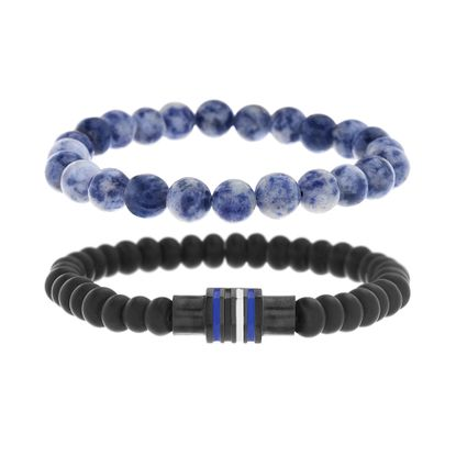 Imagen de Ben Sherman Men's Black IP Stainless Steel Black Blue & White Striped Enamel Rondelle Duo Black & Lapis Beaded Stretch Bracelet