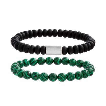 Imagen de Ben Sherman Men's Stainless Steel Cylindrical Bar Duo Black & Malachite Beaded Stretch Bracelet