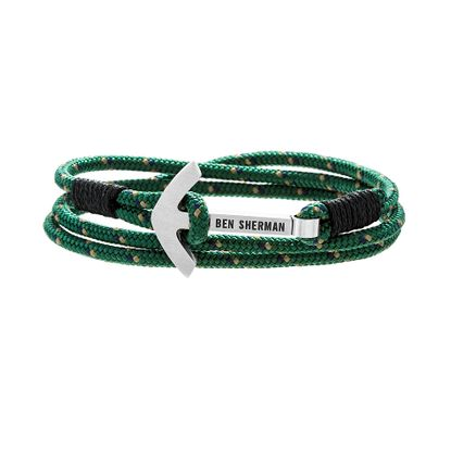 Imagen de Ben Sherman Men's Stainless Steel Anchor Hook Black Green & Yellow Wrap Around Cord Bracelet