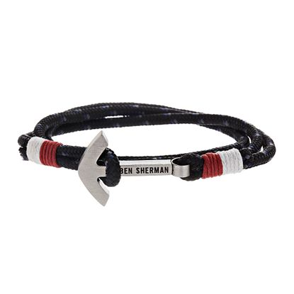 Imagen de Ben Sherman Men's Stainless Steel Anchor Hook Black Red & White Wrap Around Cord Bracelet
