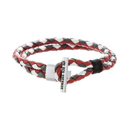Imagen de Ben Sherman Men's Stainless Steel Toggle Hook Design Gray Red & White Double Stranded Braided Leather Bracelet