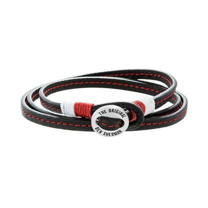 Picture of Ben Sherman Men's Stainless Steel Disc Red & White Cord Black Leather Wrap Around Bracelet