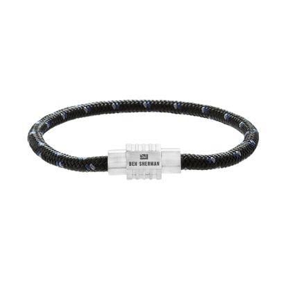 Imagen de Ben Sherman Men's Stainless Steel Rondelle Black Blue & Gray Cord Bracelet