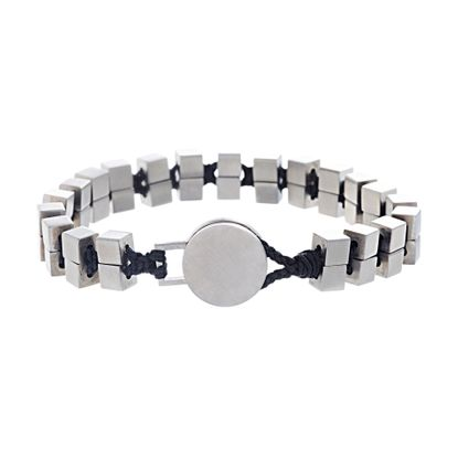 Picture of Ben Sherman Men's Stainless Steel Cube Beaded Black Cord Bracelet