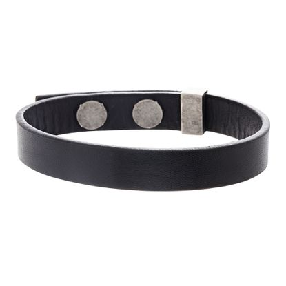 Picture of Ben Sherman Men's Oxidized Stainless Steel Black Leather Bracelet
