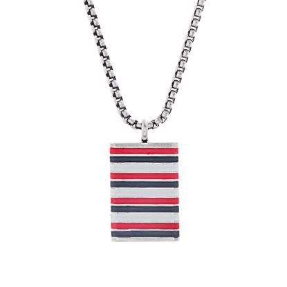 Imagen de Ben Sherman Oxidized Men's Red White & Gray Enamel Striped Rectangle Pendant Rolo Chain Necklace