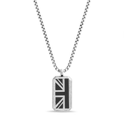 Imagen de Ben Sherman Oxidized Men's Black Enamel British Flag Pendant Rolo Chain Necklace