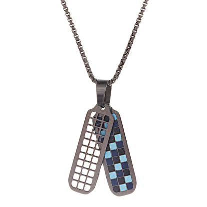 Imagen de Ben Sherman Black IP Stainless Steel Men's Blue Light Blue & Black Enamel Checkerboard Design Dog Tag Pendant 26 Box Chain Necklace