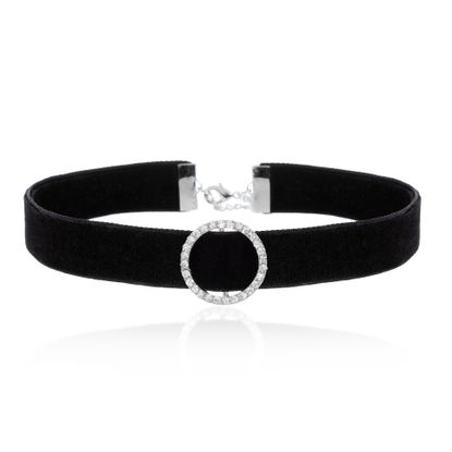 Imagen de Silver-Tone Station CZ Circle Charm Leather Strap Choker Necklace
