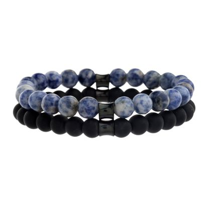 Picture of Creed Black Rhodium Plated Stainless Steel Men's Sodalite/Onyx Stone Beaded Double Stranded Bracelet
