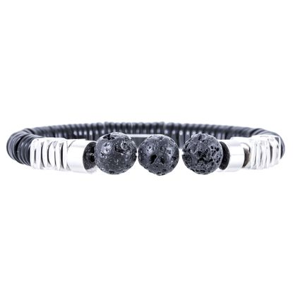 Imagen de Ike Behar Silver Tone Brass Beaded Black Ball End Stretch Bracelet