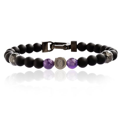Imagen de Ike Behar Black-Tone Men's Lava and Amethyst 8 Stretch Bracelet