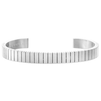 Imagen de Silver-Tone Stainless Steel Mens Ribbed Ike Behar Open Cuff Bangle