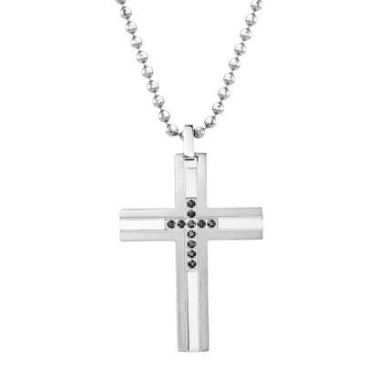 Imagen de Ike Behar Silver-Tone Stainless Steel Men's Black Cubic Zirconia Cross Pendant 26+2 Box Chain Necklace