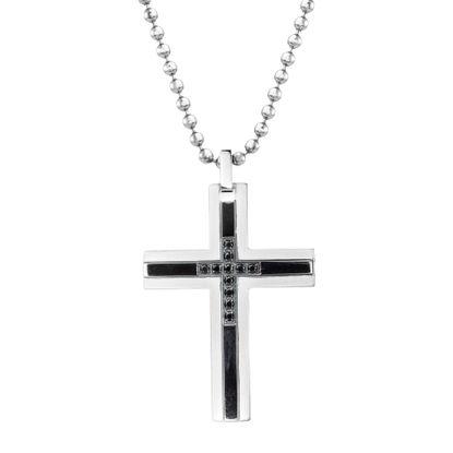 Imagen de Ike Behar Two-Tone Stainless Steel Men's Black Cubic Zirconia Cross Pendant 26+2 Box Chain Necklace