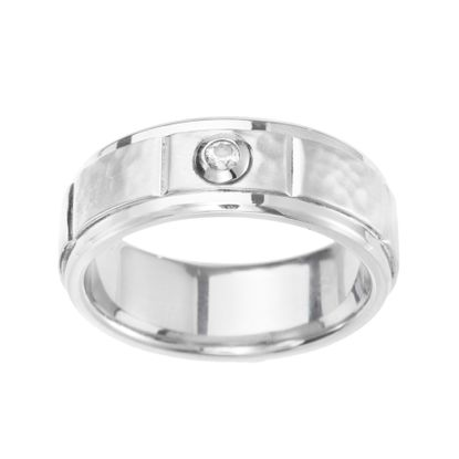 Imagen de Ike Behar Silver-Tone Stainless Steel Men's Cubic Zirconia Hammered Band Ring Size 10
