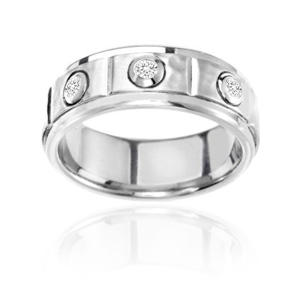 Imagen de Ike Behar Silver-Tone Stainless Steel Men's 3 Row Cubic Zirconia Hammered Band Ring Size 10
