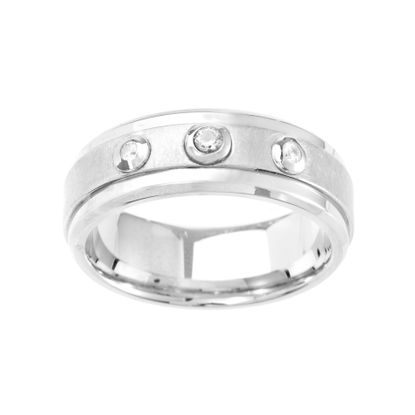 Imagen de Ike Behar Silver-Tone Stainless Steel Men's 3 Row Cubic Zirconia Satin Finish Band Ring Size 10