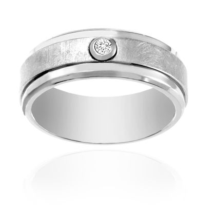 Imagen de Ike Behar Silver-Tone Stainless Steel Men's Cubic Zirconia Satin Finish Band Ring Size 10
