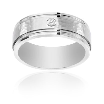 Imagen de Ike Behar Silver-Tone Stainless Steel Men's Cubic Zirconia Hammered Band Ring Size 9