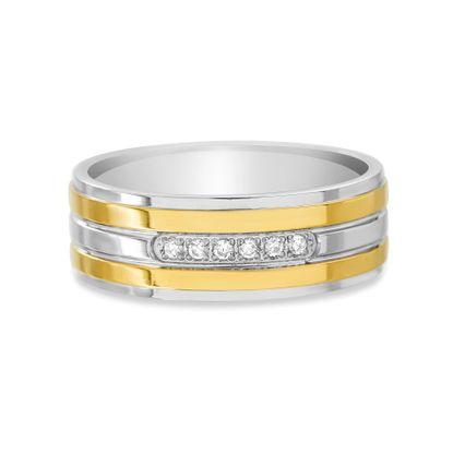 Imagen de Ike Behar Two-Tone Gold Stainless Steel Men's Cubic Zirconia Striped Band Ring Size 10