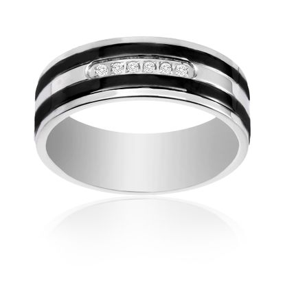 Imagen de Ike Behar Two-Tone Black Stainless Steel Men's Cubic Zirconia Striped Band Ring Size 10