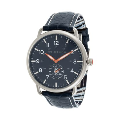 Imagen de Ike Behar Men's Silver Plated Case Multifunction Dial Navy Blue Leather Band Watch
