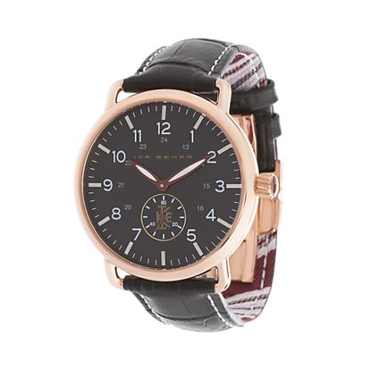 Imagen de Ike Behar Men's Rose Gold Plated Case Multifunction Dial Black Leather Band Watch