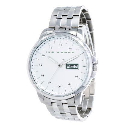 Imagen de Ike Behar Men's Silver Plated Date Function White Dial Striped Alloy Band Watch