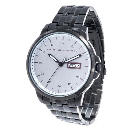 Picture of Ike Behar Men's Black IP Date Function White Dial Striped Alloy Band Watch