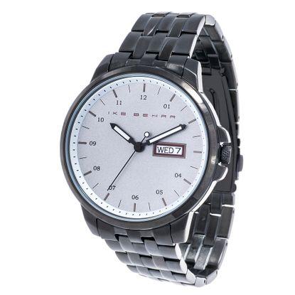 Imagen de Ike Behar Men's Black IP Date Function White Dial Striped Alloy Band Watch