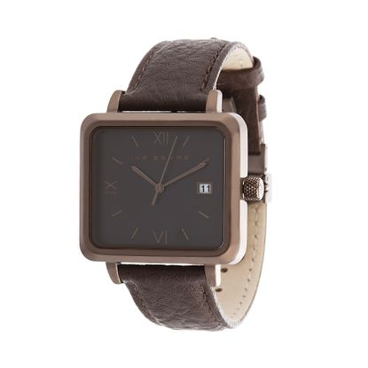 Imagen de Ike Behar Brown IP Square Stainless Steel Case Date Function Roman Numeral Dial Brown Leather Band Watch
