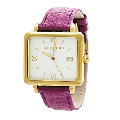 Imagen de Ike Behar Gold Plated Square Stainless Steel Case Date Function Roman Numeral Dial Purple Leather Band Watch