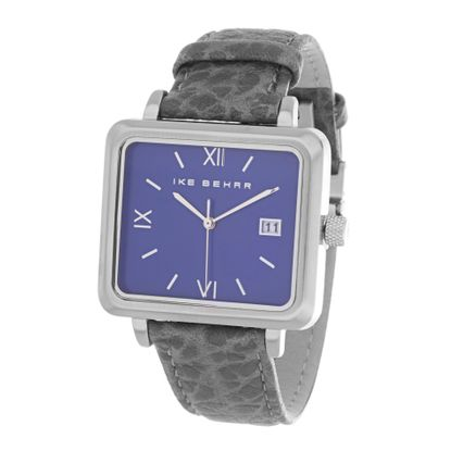 Imagen de Ike Behar Silver Plated Square Stainless Steel Case Date Function Roman Numeral Dial Black & Gray Animal Print Leather Band Watch
