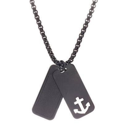 Imagen de Kitsune Men's Black Leather Dog Tag Anchor Necklace in Black IP Stainless Steel