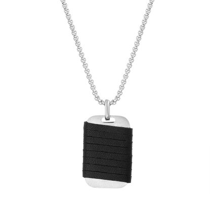 Imagen de Kitsune Men's Wrapped Leather Dog Tag Necklace in Stainless Steel
