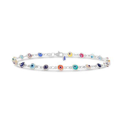 Imagen de Sterling Silver Multi-Colored Evil Eye Bracelet