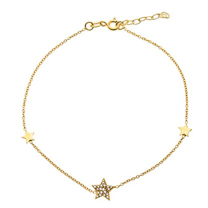 Picture of Sterling Silver Cubic Zirconia Multi Star Charm Anklet