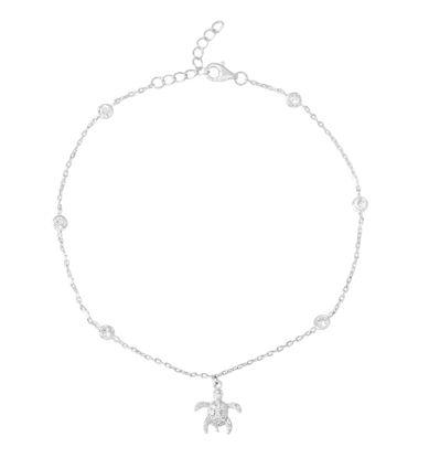 Imagen de Sterling Silver Cubic Zirconia Beads/Turtle Charm Anklet