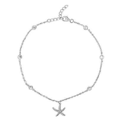 Imagen de Sterling Silver Cubic Zirconia Bezel Station Starfish Charm Anklet