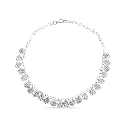 Imagen de Sterling Silver Textured Disc Charms 10 Cable Chain Anklet