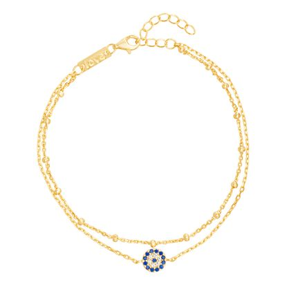 Picture of Blue & Genuine Cubic Zirconia Evil Eye Anklet in Gold over Sterling Silver