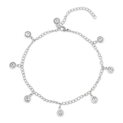 Imagen de Silver-Tone Stainless Steel Dangling Bezel Crystal Charms Cable Chain Anklet