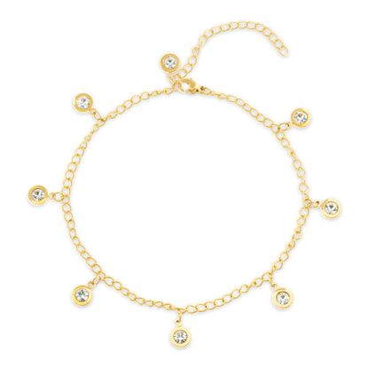 Imagen de Gold-Tone Stainless Steel Dangling Bezel Crystal Charms Cable Chain Anklet
