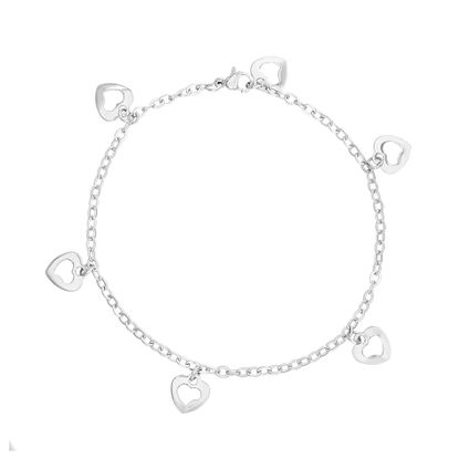Imagen de Stainless Steel Dangling Open Heart Charms Cable Chain Anklet