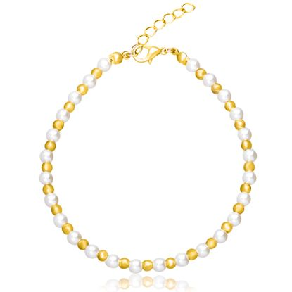 Picture of Gold-Tone Alloy Freshwater Pearl & Polish Beaded Anklet