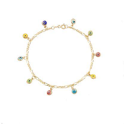 Imagen de Sterling Silver Figaro Chain with Multi Color Evil Eye Charm Bracelet