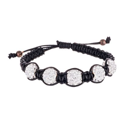 Imagen de Sterling Silver Crystal Fireball Stations Black Cord Adjustable Bracelet