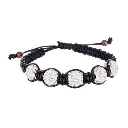 Picture of Sterling Silver Crystal Fireball Stations Black Cord Adjustable Bracelet